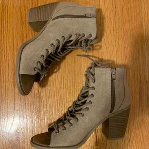 Lace up open toed booties